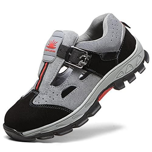 HMAKGG Damen Herren Sicherheitsschuhe S3 Arbeitsschuhe Sandalen Cool Atmungsaktiv Schutzschuhe mit Stahlkappe,Gray,43EU