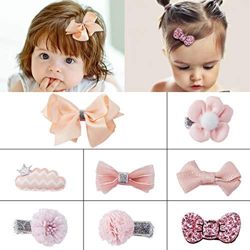 SOMIER 8pcs Bow-knot Hair Clip Set Ribbon Little Girls Hair Accessories