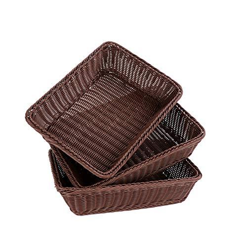 Grandtobuy - Cesta tejida de mimbre de poliéster para mesa