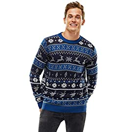 Unisex Men's Ugly Christmas Sweater Knitted Reindeer Classic Fair Isle Ugly Sweater 10 QUALITY COMES STANDARD. Our ugly christmas sweater is cable knitted with high quality 100% acrylic, flaunt your festive funk in a superior sweater that wears well, isn't scratchy, retains its shape and won't shrink. STYLIN' SWEATERS TO SUIT YOU. Our ugly sweater is available in unisex, from saucy Santa, raunchy reindeer and T-Rexs and Llamas to classic Fair Isle and cutesy penguins with pom poms and sequins, we've got it all. COMFORT IS KING. Knitted with the softest premium yarn that sits gently on the skin, doesn't cause skin irritation, settle in for the season in style and comfort. Share the love as a gift too. Perfect for Secret Santa!