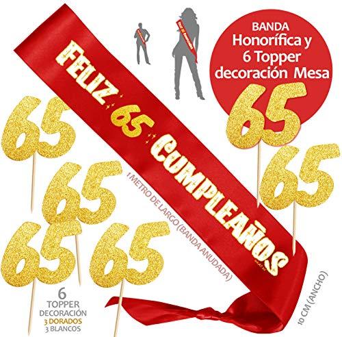 Inedit Festa - Banda 65 Años Cumpleaños Banda Honorífica Feliz 65 Cumpleaños y 6 Topper 1954 Naciste
