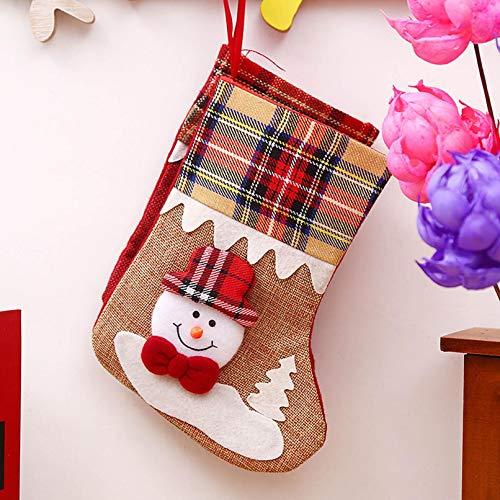 AOXING Decoraciones de Navidad Pequeñas Botas Colgante Bolsa de Caramelo Presente Bolsillo Colgante Árbol de Navidad Decoración del Hogar Santa Claus Medias de Navidad (B)