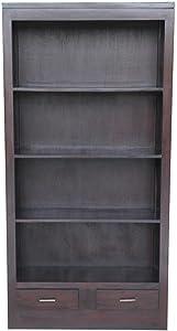 Etnicart - Libreria con cassetti in mogano-90x180x30-LEGNO MASSELLO
