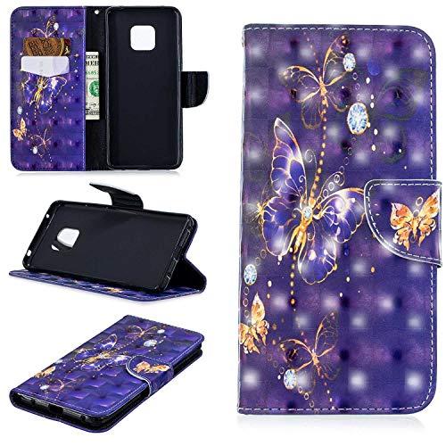 HCUI Huawei Mate 20 Pro Handyhülle PU Flip Leder Cover mit Cash Card Slots, Leder Tasche und Ständer Magnetverschluß Kratzfestes Schutzhülle für Huawei Mate 20 Pro - Schmetterling Violett.