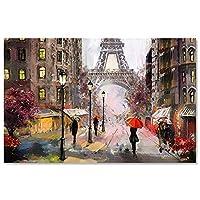 ロマンチックな街の通り歩行者パリエッフェル塔風景キャンバスに抽象絵画ポスタープリント壁画(30x55cm)1pcsフレームなし