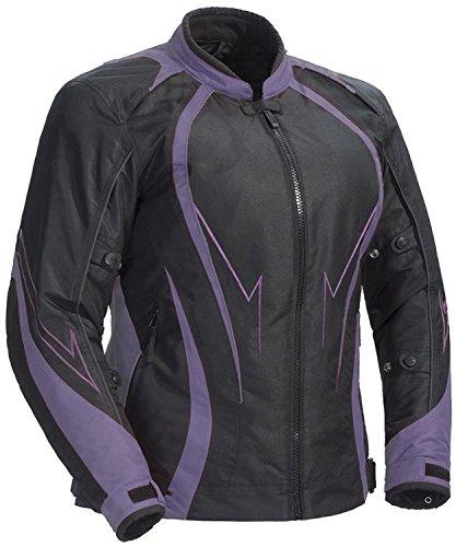 Juicy Trendz Damen Motorradjacke Frauen Wasserdicht Cordura Textil Motorrad Jacke, Violett, L