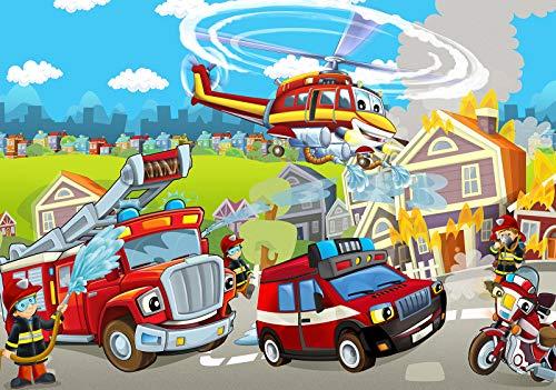 Forwall Fototapete Vlies Tapete Feuerwehr Kinderzimmer - Junge Feuerwehrmann Helikopter Moderne Wanddeko Wandtapete für Kinder 12549VEXL 208cm x 146cm