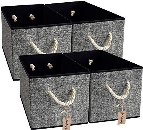 HoloSales Holo - Caja de almacenamiento plegable con asas de algodón, sin tapa, para oficina, habitación de los niños, armario (negro/gris, 4)