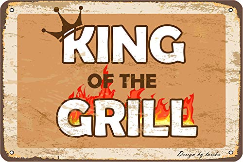 King Of The Grill - Letrero decorativo para pared (20 x 30 cm), diseño vintage