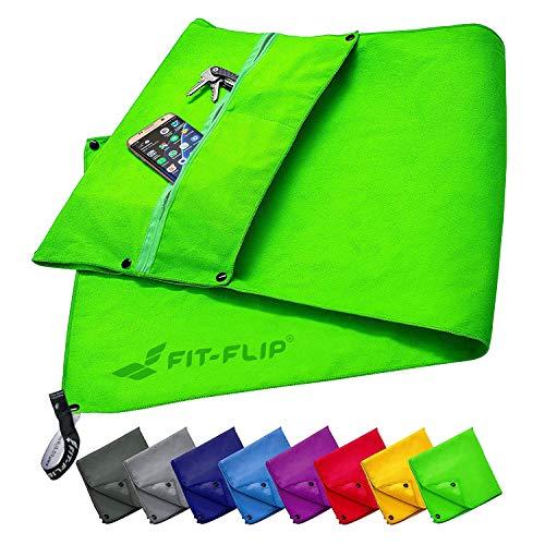 Fit-Flip Fitness Handtuch Set mit Reißverschluss Fach + Magnetclip + extra Sporthandtuch | zum Patent angemeldetes Multifunktionshandtuch, Mikrofaser Handtuch - Grün