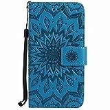 Yiizy Huawei Ascend P7 Funda, Pétalos Sol Diseño Billetera Carcasa Estuches PU Cuero Cover Cáscara Protector Piel Ranura para Tarjetas Estilo (Azul)