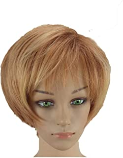 FCXBQ Synthetic Wig Straight Style Pixie Cut Capless Wig Blonde Blonde Synthetic Hair 10 inch Women''s Normal/Soft/Heat Resistant Blonde Wig Short hairjoy:Blonde