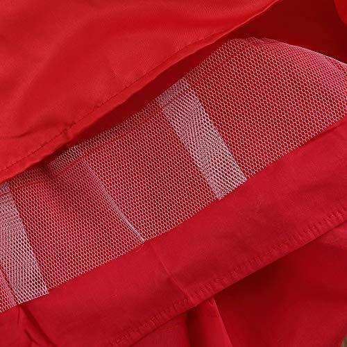 Geagodelia Vestido de princesa para bebé, cuello redondo, sin mangas, de encaje floral en la parte trasera, con cremallera trasera, estilo tutú de malla multicapa, rojo, 3-6 Meses