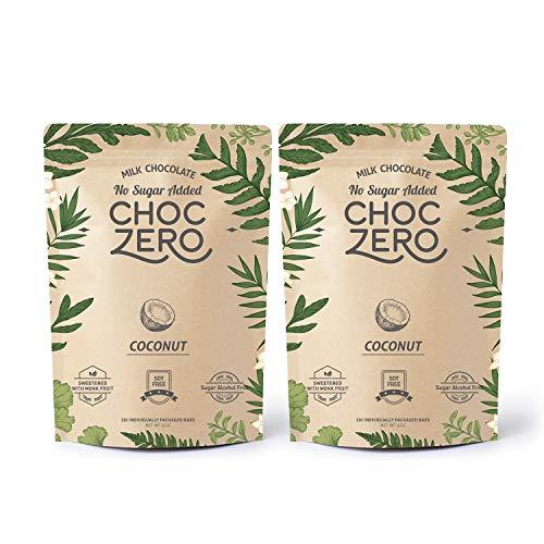 ChocZero's Keto Bark, Milk Chocolate Coconuts, No Added Sugar, Low Carb, No Sugar Alcohols, Non-GMO (2 bags, 6 servings/each)