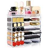 Aerbee Organizador de Maquillaje Acrílico, Cajas Almacenamiento Maquillaje Transparente para Pintalabios Cosmético Crema Brochas Maquillaje Pintauñas Ideas Regalo San Valentín Mujer