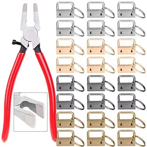 Key Fob Hardware, Shynek Keychain Hardware Set Includes 40pcs Key Fob Hardware 1 Inch with Key Fob Hardware Pliers for Wristlet Keychain, Key Lanyard and Key Chain Making Hardware Supplies