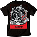 Marvel - Camiseta para adulto de Los Vengadores Ataque Capitán América, Iron Man, Thor, Hulk, Negro, XL