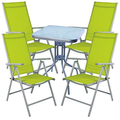 Mojawo Bistro garnitur 5 pièces Table bistro Métal 60 x 60cmh70 cm + 4 klappstühle Aluminium/textile Argenté/lime