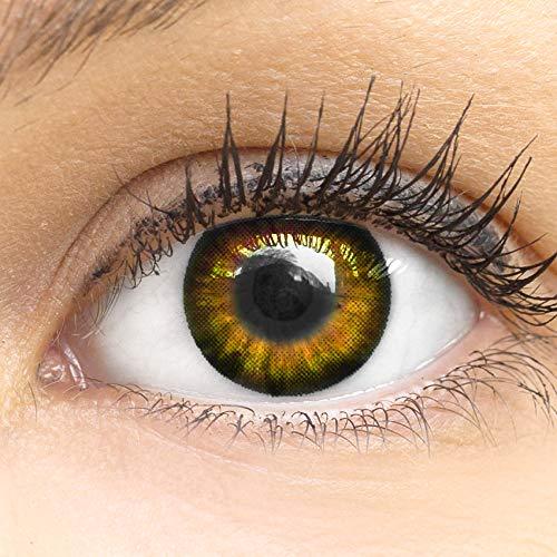 MeralenS Anime Manga Braune Circle Lenses - Sweet Braun ohne Stärke mit Kontaktlinsen Flüssigkeit - 15mm Farbige Big Eyes Contact Lenses