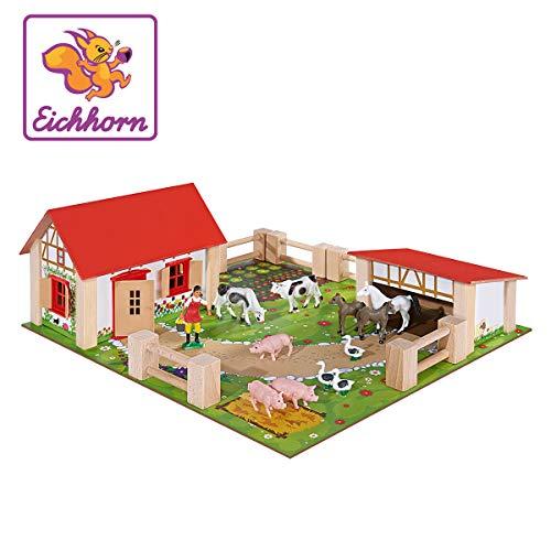 Eichhorn 100004304 - kleiner Bauernhof, Bauernhof mit 2 Gebäuden, Spielplatte, Figuren, Tieren, Zäunen; 21-tlg, 36x39cm