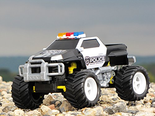 RC Monstertruck kaufen Monstertruck Bild 1: Diawell RC ferngesteuertes Polizei Pick Up Polizeiauto Monstertruck Truck Vollfederung Warnlicht 210 mm Lang*