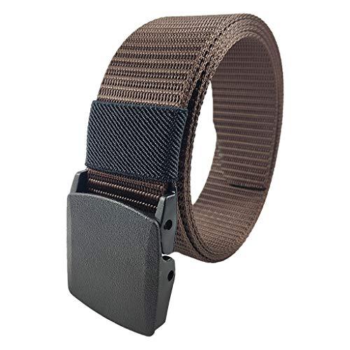 Cintura automatico fibbia in nylon - Lunga cintura traspirante per gli uomini - Esercito maschile tattico cintura, fettuccia regolabile vita militare tela tessuto cinghie di tessuto (MARRONE)