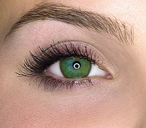 Kontaktlinsen farbig ohne Stärke farbige Jahreslinsen weiche Linsen soft Hydrogel 2 Stück Farblinsen + Linsenbehälter 0.0 Dioptrien natürliche Farben Serie Mystery Light Green (hellgrün)