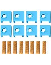 stronerliou Accesorios de Impresora 3D 8 Piezas 25 mm Amarillo Cama Caliente Primavera + 8 Piezas Enchufe de Silicona para MK8