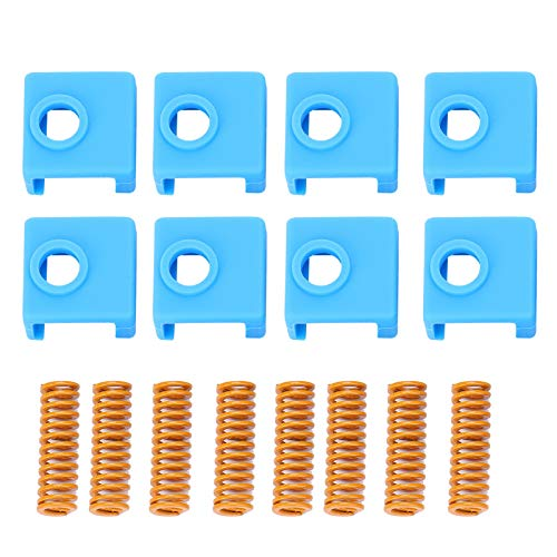 Eujgoov 8Pcs 25mm Yellow Hot Bed Spring + 8Pcs Silicone Socket for MK8 3D Printer Accessories