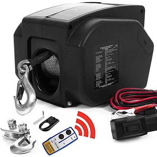 creatspaceDE Elektrische Seilwinde mit Funkfernbedienung, Seilwinde für Auto, Zugkraft von 4990 kg, Motorwinde, Bootswinde, Anhänger, Auto