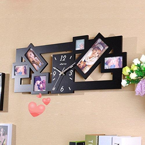 Jack Mall- Soggiorno Orologio da parete Mute modo creativo Photo Frame con sveglia Camera da letto Studio Guarda personalizzata Home Decor ( Colore : Nero )