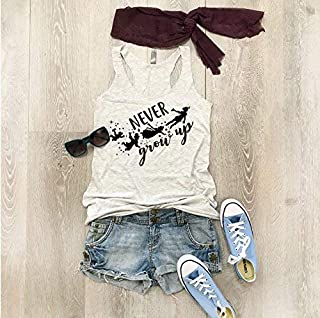 Never Grow Up. Hand Screen Printed With Eco Ink. Women's Eco Tri-Blend Tanks. Women Clothing. Disney Tank Top. Disney Gift Triblend Tank. Gift Shirt. Happy Shirt.