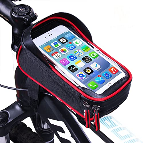 LIDIWEE Borsa Telaio Bici, 6 inch Porta Cellulare Bici, Borsa da Manubrio per Biciclette, Borse Biciclette Supporto Bici MTB BMX, Accessori Bici (Nero e Rosso)