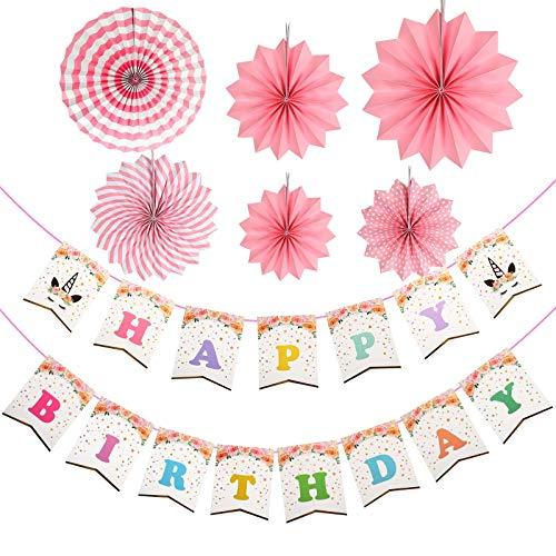 ZoomSky Einhorn Happy Birthday Banner, 36Stk Unicorn Themed mit Rosa Papier Fächer Partydeko Niedlich Mädchen Regenbogen Girlande Dekorationen für Kinder Foto Requisite Magisch Geburtstag Party