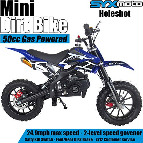 SYX MOTO Kids Dirt Bike Holeshot 50cc Gas Power Mini Dirt Bike (Blue)