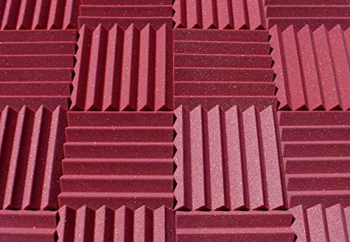 "Soundproofing Acoustic Studio Foam - Burgundy Color - Wedge Style Panels 12""x12""x2"" Tiles - 4..."