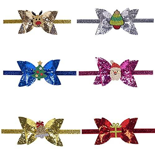 iFCOW Juego de 6 diademas navideñas para bebés y bebés, con purpurina brillante, decoración para bebés recién nacidos
