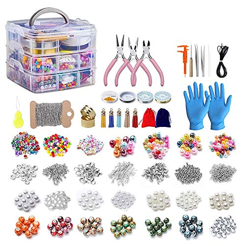 RETYLY 2456 Pieces of Jewelry Making Kit, Jewelry Making Tool Kit with Jewelry Beads, Jewelry Pliers, Beaded Thread, Storage Box, Jewelry Necklace Earrings Bracelet Repair