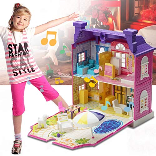 Deniseonuk DIY Doll House with Furniture Miniature House Luxury Simulation Dollhouse Assembling Toys for Kids Children Birthday Gifts