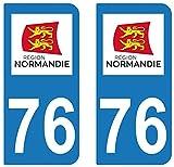 supstick 2 STICKERS AUTOCOLLANT PLAQUE IMMATRICULATION DEPT 76 Normandie