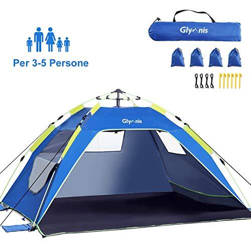 Glymnis Tenda da Spiaggia Pop-up Tenda Istantanea Portatile per 3-5 Persone, Protezione Solare UPF 50+ con 3 Finestra a Maglie