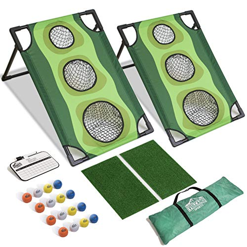 Vulcano Sports Golf Cornhole Outdoor Game, Par 1 Set, Cornhole Boards for Golfers, Chipping Challenges, Practice and Custom Gaming for Friends or Teams, Outdoor Backyard Games for Family