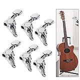 Gobesty 6 piezas Clavijas de afinación de guitarra, sintonizadores cromados 3L3R Cabezales de guitarra para afinador de guitarra eléctrica acústica popular Piezas de guitarra Reemplazo de guardabarros
