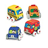 Melissa & Doug Pull-Back Vehicles - The Original (4 Soft Cars and Trucks and Carrying Case, Great Gift for...