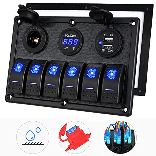 Kohree 6/8 Gang Marine Boat Rocker Switch Panel, 12V Waterproof RV Led Switch Panel for Car Truck Marine Boat, Digital Voltmeter Display Dual USB Charger Port DC 12 Volt Socket 12/24V Blue Lighted