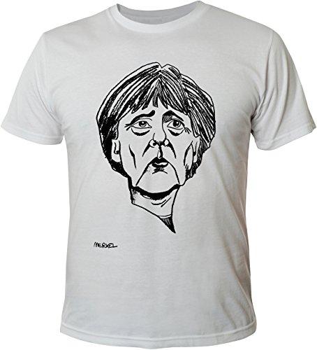 Mister Merchandise Witziges Herren Männer T-Shirt Angela Angie Merkel, Größe: M, Farbe: Weiß