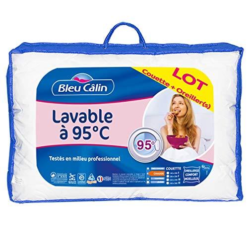 Bleu Câlin Pack Couette 1 Personne 140x200 cm + 1 Oreiller 60x60 cm, Lavables à 95° LBOB40