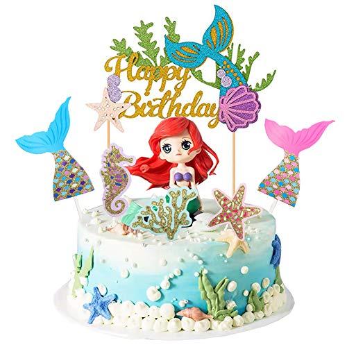 Elwish - Kuchendekoration in Mehrfarbig, Größe mermaid cake topper