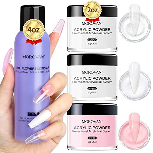Morovan Acrylic Powder and Liquid Set Professional Monomer Nail Kit Acrylic Set with 2oz Pink White Clear Acryic Nail Powder for Acrylic Nails
