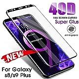 KDLLK 40D voll gebogenes gehärtetes Glas, für Samsung Galaxy S8 S9 Plus Note 8 9 Displayschutzglas, für Samsung S7 Edge Protective Film